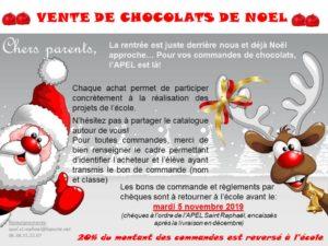 DATE LIMITE DES COMMANDES DE CHOCOLATS DE NOEL